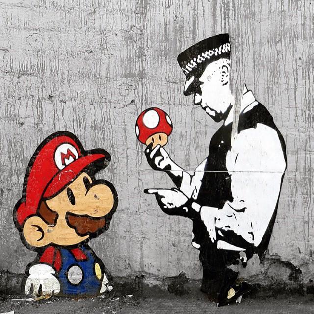 Work by @trusticonstreetart | London, UK | #repost #supermario #graffiti #streetart #mushrooms