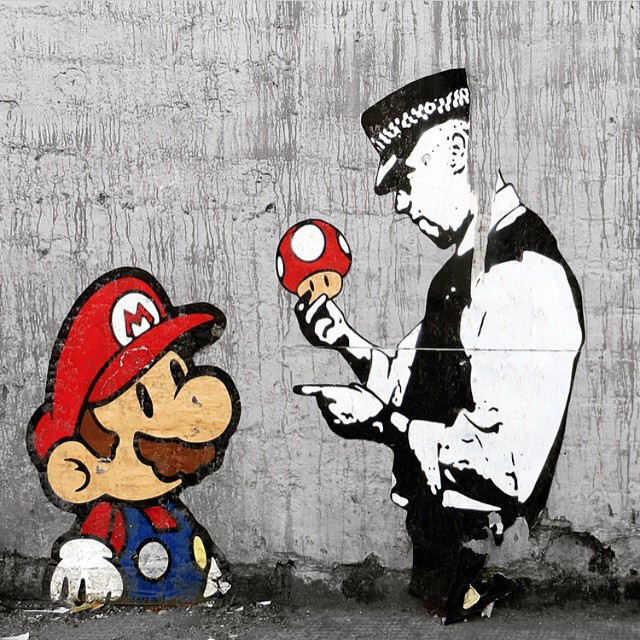 Work by @trusticonstreetart | London, UK | #repost #supermario #graffiti #streetart #mushrooms