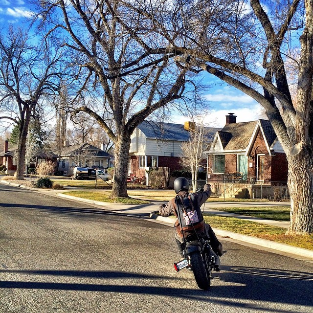@sammywoolf gets his Kathmandu Valley Rucksack out for a morning ride in Salt Lake City, UT
