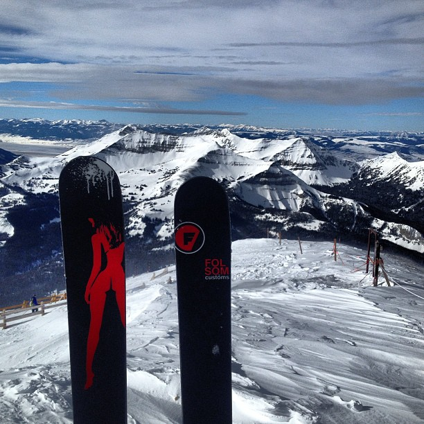 Top of Lone Peak looking at Cedar @bigskyresort #powderweek2015 #buttskis