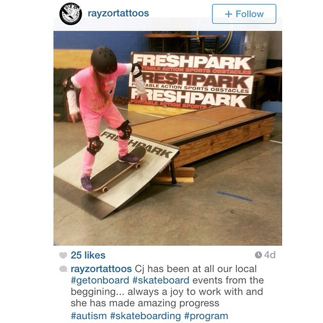 Check out @rayzortattoos amazing program called, Get On Board, teaching special needs children how to skateboard using Freshpark! #autism #skate #freshpark