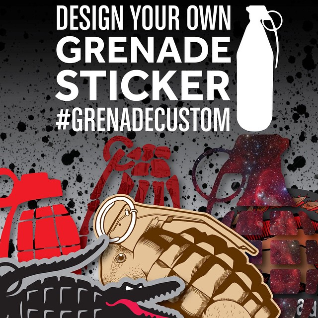 WIN A FREE PACK OF CUSTOM STICKERS! Post your graphic with #GRENADECUSTOM we will repost the winning graphic Friday.