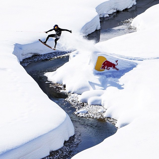 Entourage member @briankgrubb takes wakeskating to the snow in Bosnia. There is an awesome video in his profile or on the @redbull page! #permissiontoplay