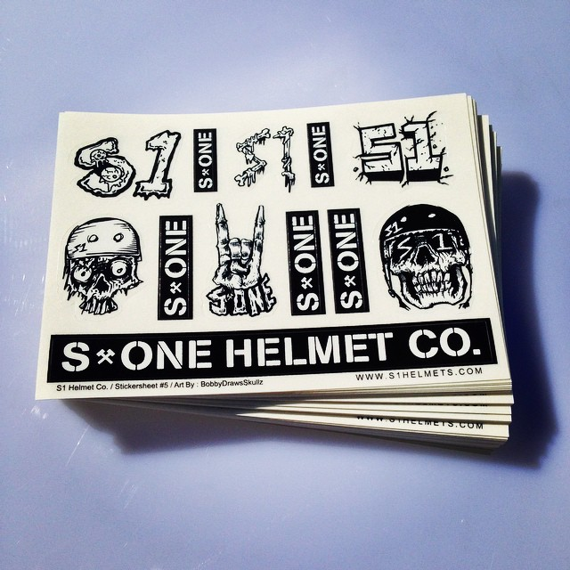"S1 Helmet Co. Stickersheets by artist @bobbydrawsskullz (4 x 6"" diecut vinyl stickersheets printed by @grayslide ) #s1helmets #stickersheets #skulls #limitededition #radness #coolstuff"