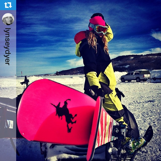 XS team rider @lynseydyer testing her latest invention: rad skis to make #unicorns fly! ・・・