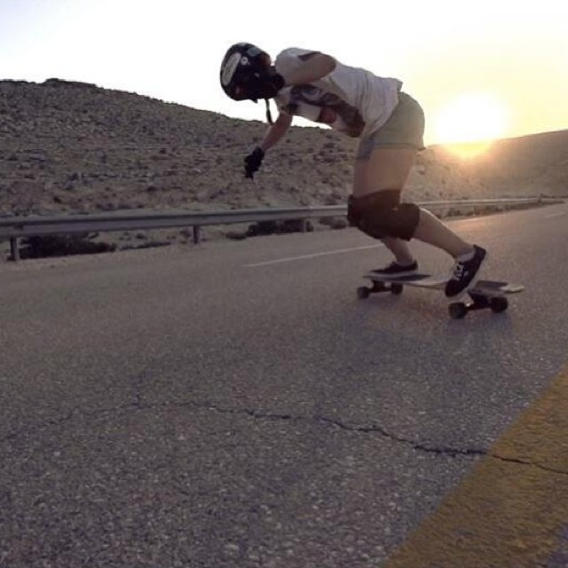 #lgcopen rider @jackymadenfrost sliding in the Negev desert. Have you seen the trailer? Full movie coming soon! Now let's go skate