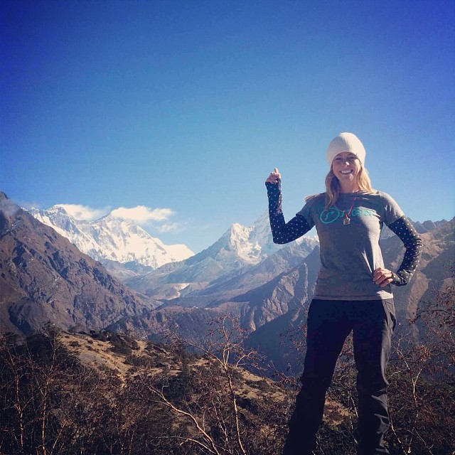 #STOKEDIgniter and ESPN writer /host @alyroe went to Nepal for a story and took this rad picture of her standing in front of Mt Everest rocking her ltd edition Igniter only shirt. She along with 100+ ppl across the country donate monthly and support...