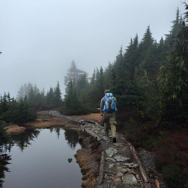 """All truly great thoughts are conceived while walking."" -Nietzsche -- Marcus and his Salute on the Mt. Pilchuck Lookout trail in Washington. #mhmgear"