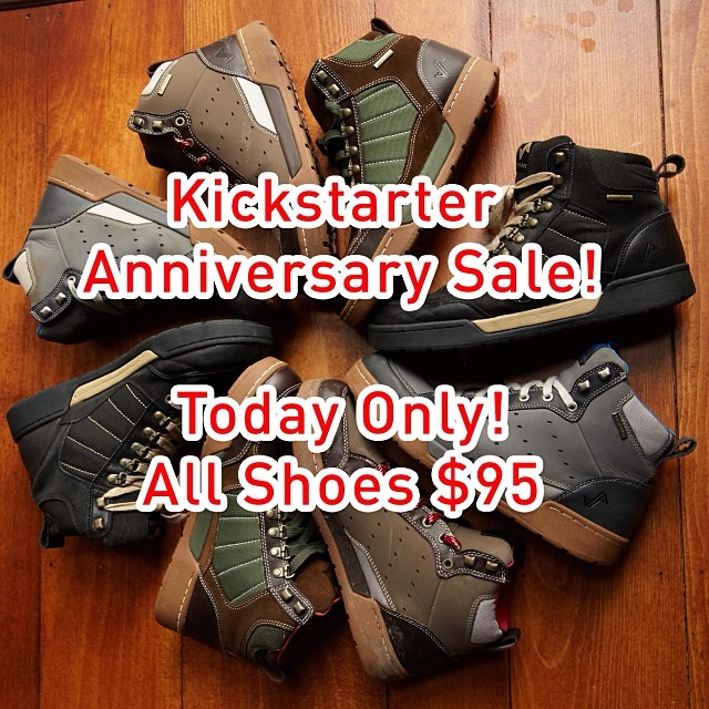 Today is the one year anniversary of our kickstarter campaign. To celebrate, all shoes are available at the kickstarter price of $95/pair. One day only!