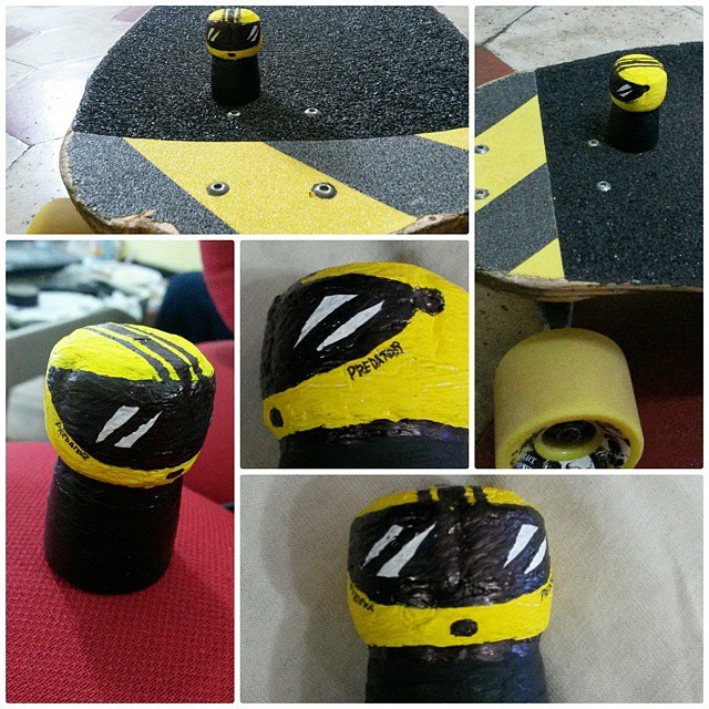 #regram from @albertosm4 with his #superduper cool #footstop - painted as a miniature #DH6 thanks to @armando4195 #stoked #souped #streetart #downhill #stopfoot #Italia #freeride #longboard