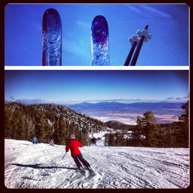 Putting @coalitionsnow skis to the test @skiheavenly! So far so....Great! #tahoe #skiing #sisterswhoshred #prayforsnow