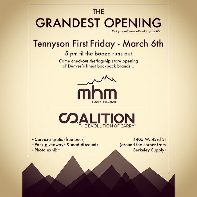We're throwing our GRANDEST OPENING next Friday, March 6th at our new flagship store on Tennyson! FREE BEER, MHM & @co.alition pack giveaways, photo exhibit, oh yeah, and FREE BEER! Come party with us. The whole street has stuff going on for First...