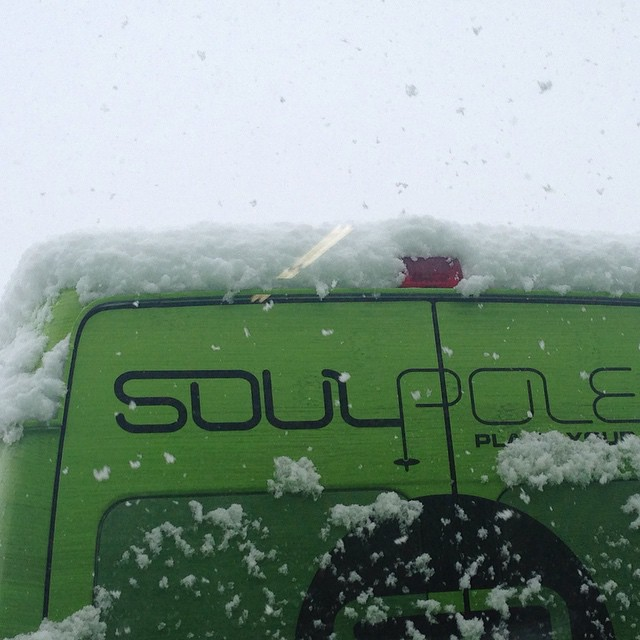 The #soulmachine is catching a little love from the snow gods in #vail #plantyoursoul #bambooskipoles