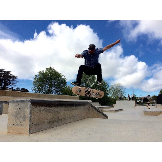 @bandiesel is in #santacruz right now and seems to be enjoying the new #caliberstandards with a heel flip nose slide at the local park. look for them soon. photo @gnarlitosway