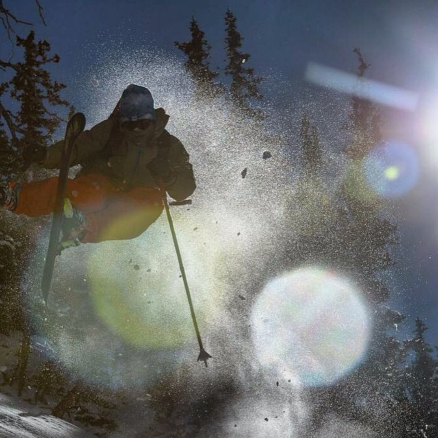Explosive strength. Courage. Wit.  Pit Viper's Chuck Mumford glorifies existence recently during the Ski Salt Lake Photo Shootout... #TribeUP Shootout!  Photo: @reubenkrabb  @pit_viper  @buckmanford  #PartyMountain  #PandaPoles #PandaTribe