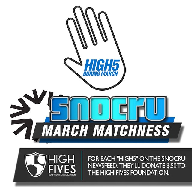 Download the free app @SNOCRU and help the #HighFivesFoundation FUNdraise throughout March with a High5 on the activity feed! #SNOCRU #makeedbroke