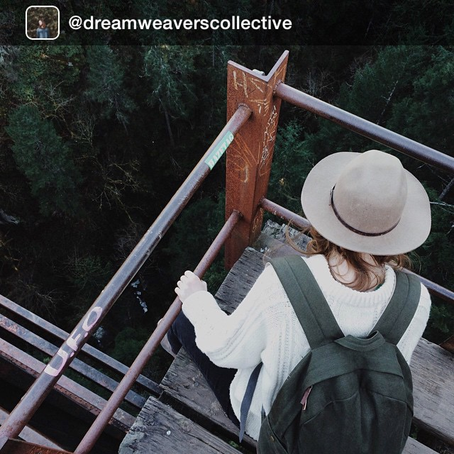 Repost from @dreamweaverscollective @kellybrownphoto wearing her #estwst good-day pack on a Saturday adventure at the trestle. #organic #sustainable #vegan #explore