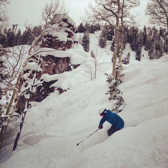 """What a treat in #aspen today. 6"""" of #powder and linked up with @pedromcbride for the local tour of hidden gems. @tecnicablizzard #plantyoursoul"""
