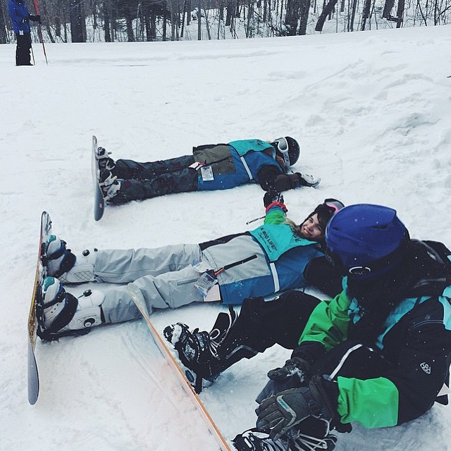 You know just some snow angels before we accomplish our goals #stokedbelleayre #StokedMoment  #snowboardingisfun #ourmentorsrock