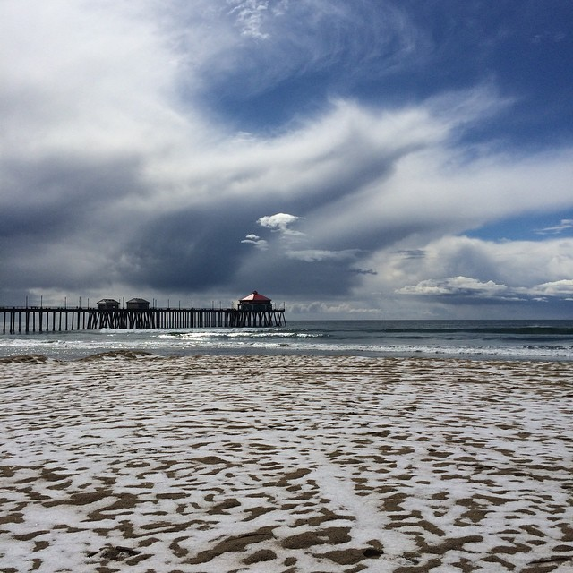 Live update from Huntington Beach, California...it just snowed. Climate change is real. #SnowBarrels