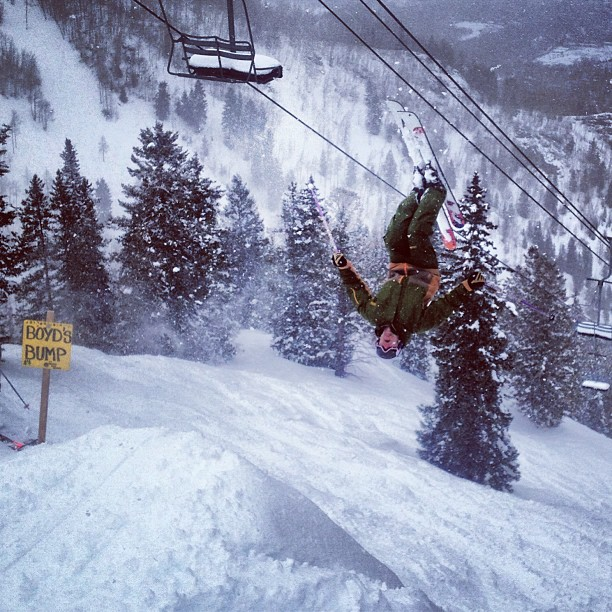 Ryan getting #inverted at #freeskiertest off #boydsbump @aspensnowmass