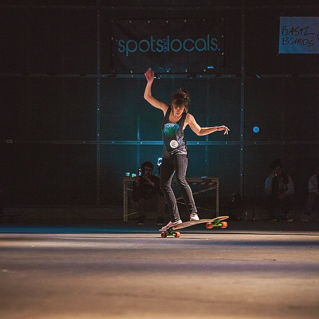 Our LGC #Germany rider Deborah Kesser on her way to the podium during the #soyoucanlongboarddance 2015 edition last week in The Netherlans. @mari_aprilfool photo.  #longboardgirlscrew #girlswhoshred #deborahkesser #sycld