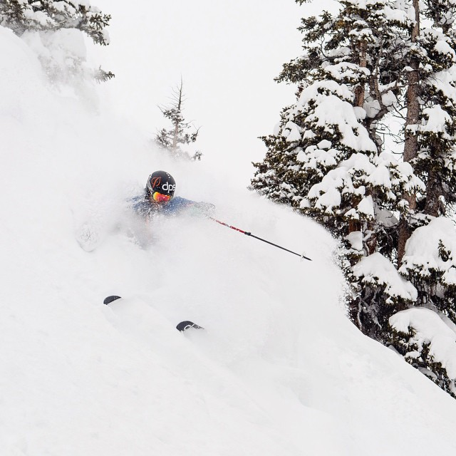 "Dispatch from @aspensnowmass... ""It's really good."" Yup, looks like it. @grskier in deep. Photo: @jswansonphoto."