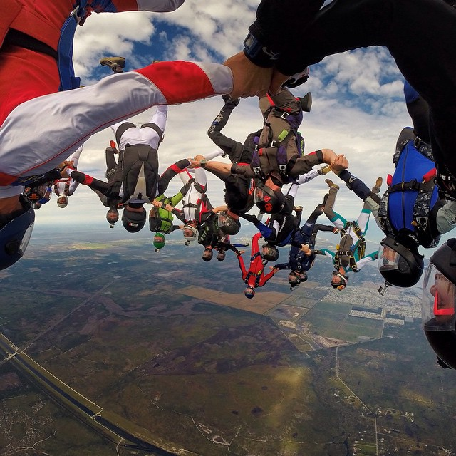 Photo of the Day! @Jump_Junkie and friends enjoy a little quality time together. #skydiving #gopro
