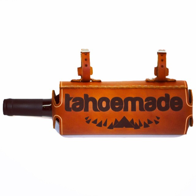 The leather vino carrier. Strap it to your bike, your person, or even your pull-up bar. Another hand made product crafted by our good friends at Pedal Happy Designs. Available exclusively on our website. _ #tahoemade #madeintahoe #handmade #leather
