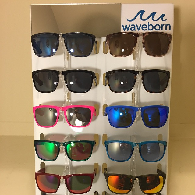 The #waveborn Beacon is our most popular model and featured our Waveborn's new #retail counter top display #findthesun #shades #neon #zeiss #givesight