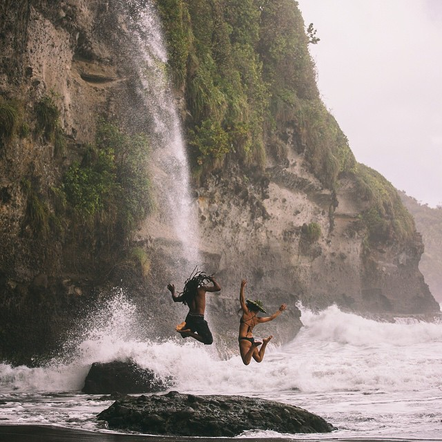 Getting to this waterfall was a full Indiana Jones experience, through a lush jungle and down a fraying rope ladder hanging off a jagged cliff with a straight vertical drop - one wrong move and it would be a grand fall to a heroic death. Thanks to our...