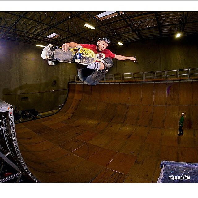 @pacificodrinkin clears the hawk gap. Photo by @sparagram #s1helmets #liferhelmet #skateboarding #skatevert