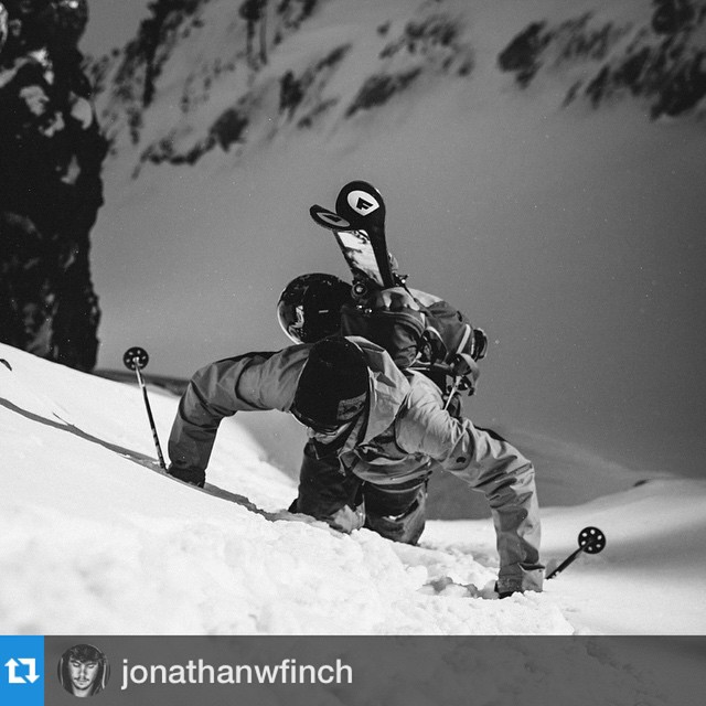 Sweet photo from @jonathanwfinch of @brock.holmes earning his turns and rocking @folsomskis with @repostapp.