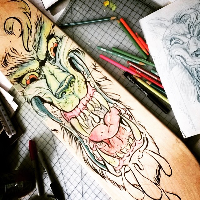 Many thanks to @apricotmantle for showing our @stoked_la crew how to creatively design their own skateboards. #skateart #skateboarding #werewolfart #stokedorg #stokedla #regram