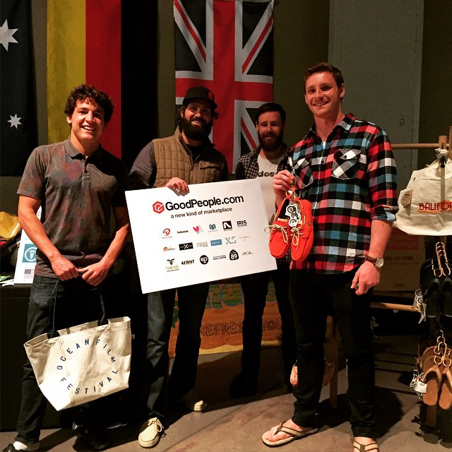 Going Big and Doing Good with @mafiabags and @Indosole at last week's #SanFrancisco @oceanfilmfest // Grab a pair of #indosoles handmade sustainable shoes and a repurposed sail #mafiabag in the GoodPeople Marketplace #tbt #ThrowbackThursday...