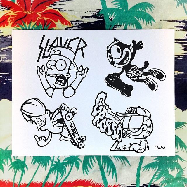 Leyendas del skate reversionadas en personajes clásicos de animación por @falucarolei