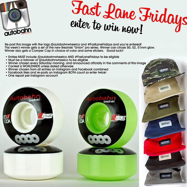 "Re-post this image with the tags @autobahnwheelco and #FastLaneFridays and you're entered! This week's winner gets a set of the new Brezinski ""Union"" pro series. Winner can chose 50, 52, 51mm glow. Winner also gets a Camper Cap in choice of color and..."