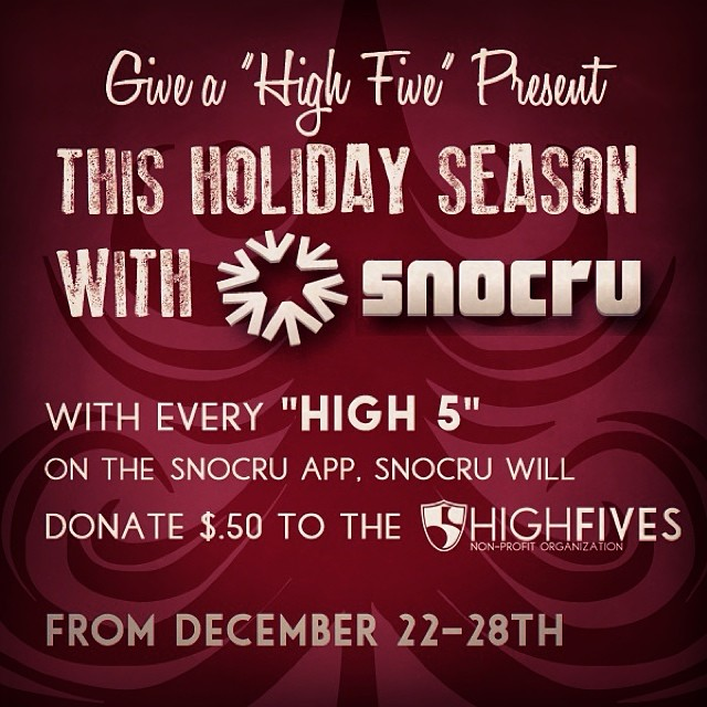 We're having a blast using the @snocru (free mobile app) this holiday season! You can too...download it today, & build your Cru. 'High 5s' on the Newsfeed help support the Foundation with $.50 donated each time (through Dec. 28th) #SnoCru #High5ives...