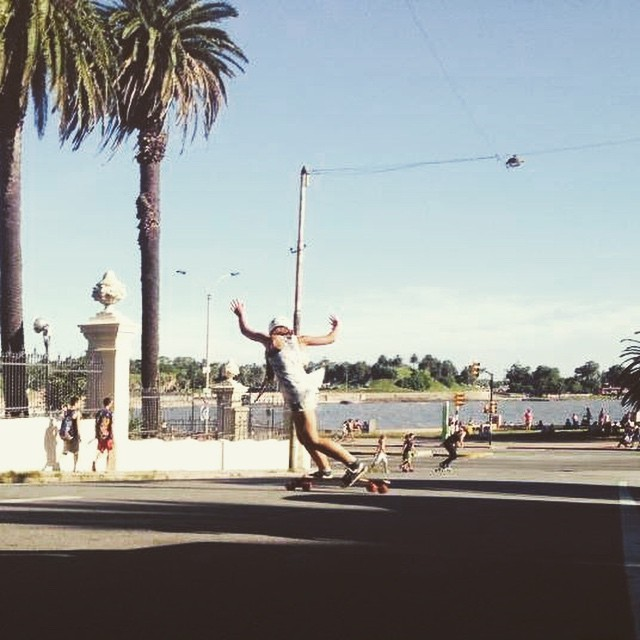 Laura Valiente from LGC Uruguay backside checking near the shore. Hope you're all skating!  #LongboardGirlsCrew #girlswhoshred #lauravaliente #pezvaliente #uruguay