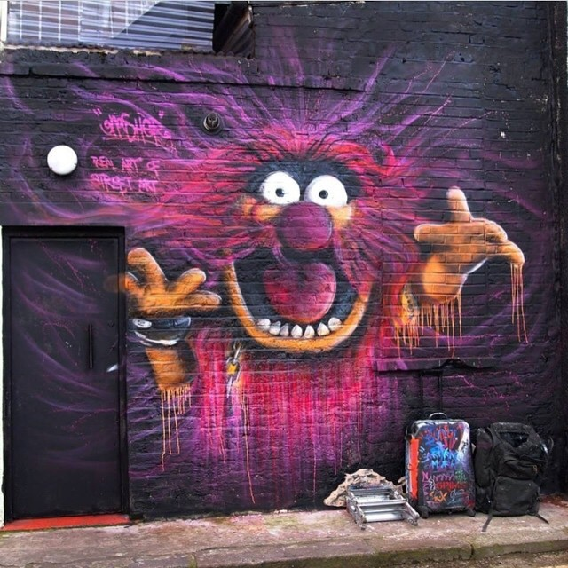 Amazing piece by @gnashermurals | Camden, London | #Dope #Muppets #StreetArt
