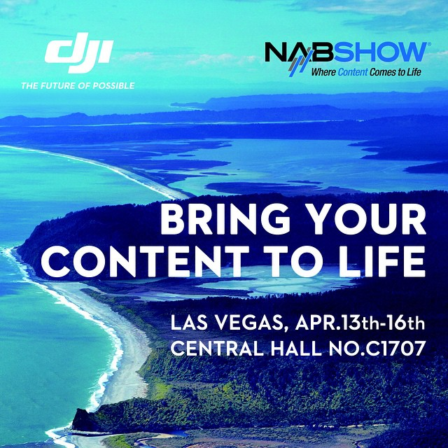Bring your content to life with #DJI at the 2015 #NAB in #LasVegas!  Come check out the aerial and on-ground technology advancements available to you. We're offering all #DJICreators a free guest pass to visit us and experience true innovation  Use the...