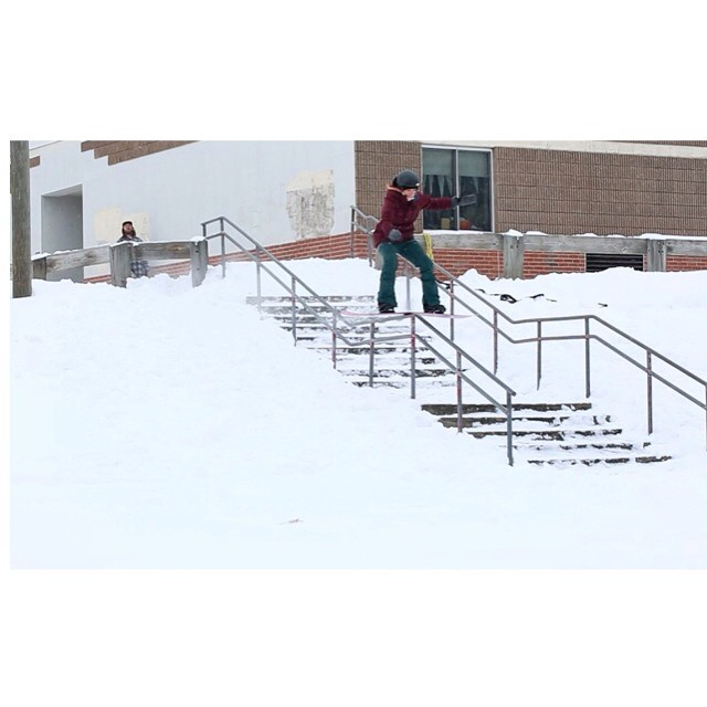@gnar__marr puts down a solid Boardslide on during her time spent back east @outtathekitchen ❄️