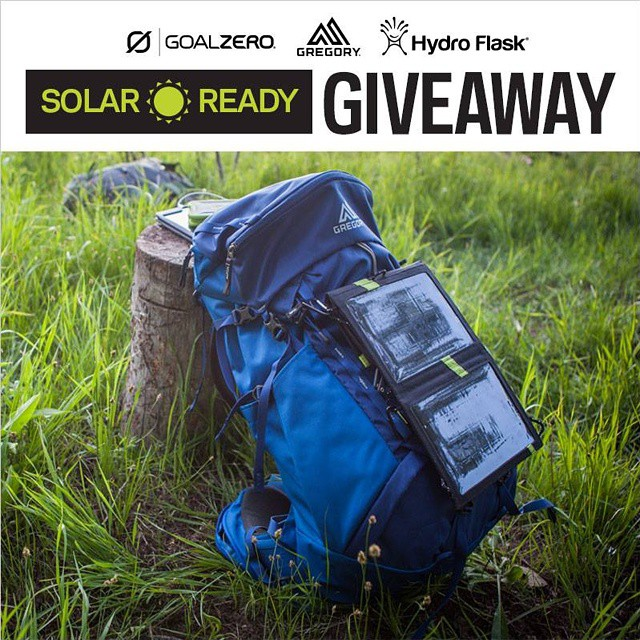 In celebration of our Solar Ready™ collaboration with @gregorypacks, we're giving 3 lucky winners a Gregory Solar Ready™ Pack, Goal Zero Switch 10 solar Kit, and a @HydroFlask with a straw lid!  Follow the link in our profile to enter.
