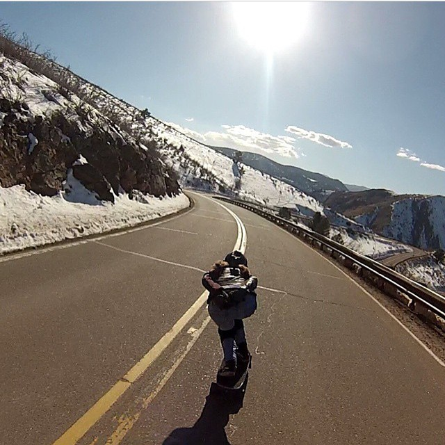 @spokywoky is happy the sun finally came out in #Colorado. Enjoy buddy!  @kylewesterskate photo.  #LongboardGirlsCrew #girlswhoshred #spokywoky