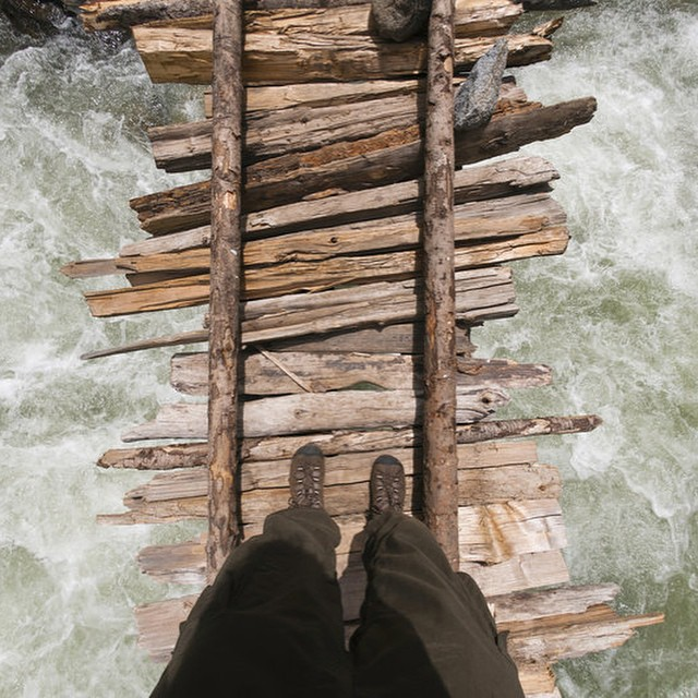 Walk this way? You're kidding? Check out other #scarybridges on @redbulladventure and add your own. #selfie #adventure
