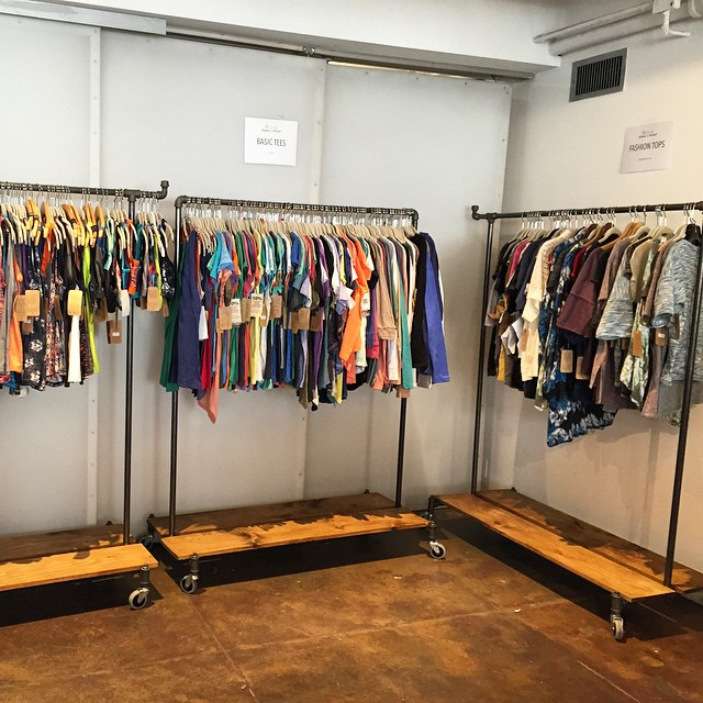 We're ready for tomorrow's #samplesale. Come by btwn 2-6pm and shop for a cause! All proceeds benefit @theirc! #showroom #sale #new #shop #charitable
