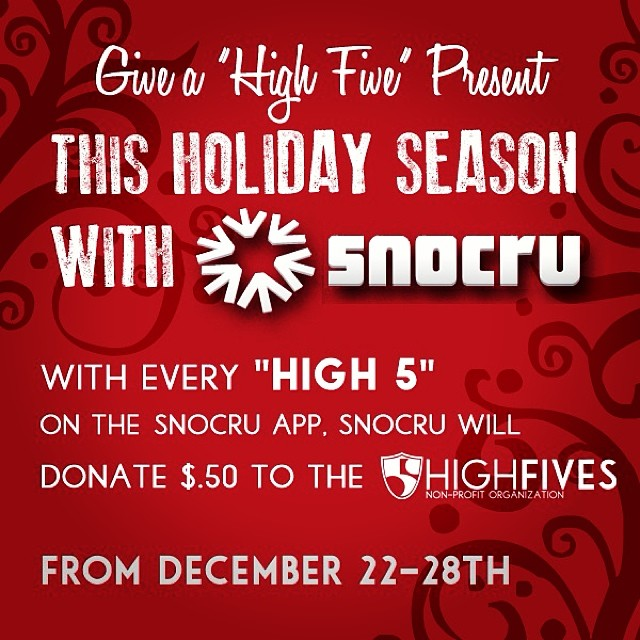 Here's to a great Holiday season! Help support the Foundation with $.50 donated for each 'High 5' on the @snocru Free Mobile App's Newsfeed through Dec. 28th. #SnoCru #MakeEdBroke #High5ives
