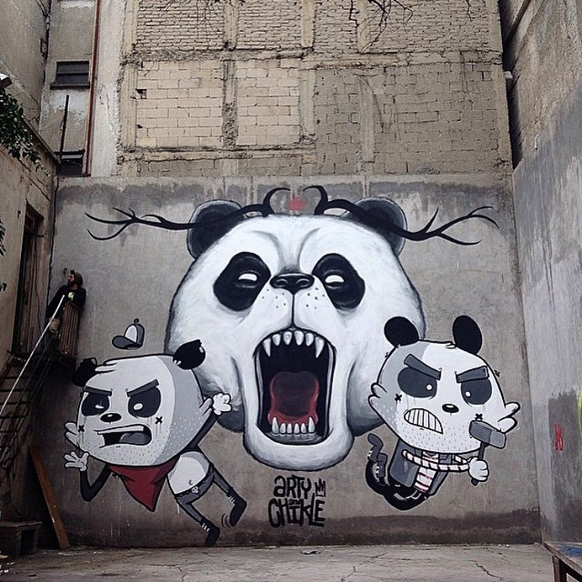Attack of the Pandas #mural done by @arty_and_chikle #awesome #graffiti #mexico