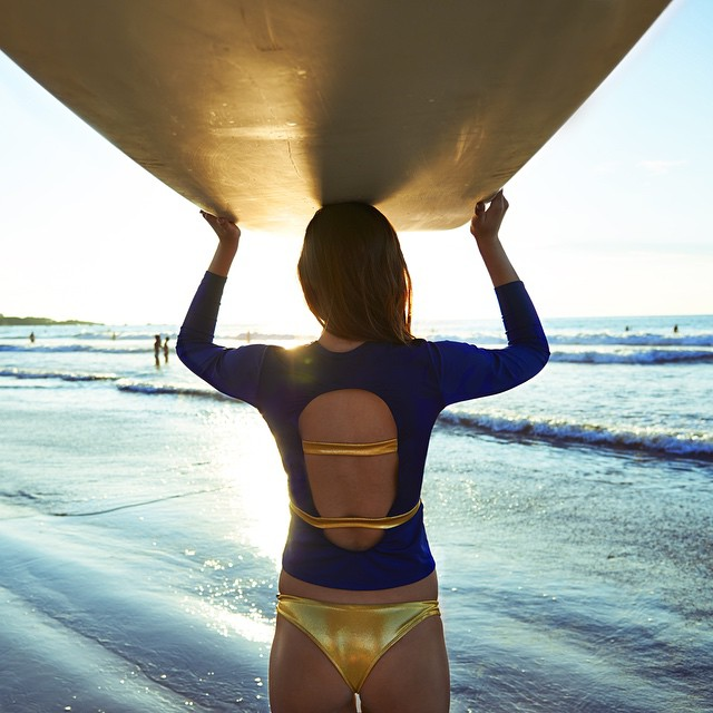 Headed into perfect light in our CUTOUT RASHGUARD and THONG THA THONG. Yes please. @andreayurko photographed by @giannidiliberto with make-up by @domaneek, produced by @myragonzalez at @calalunahotel