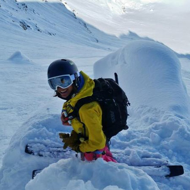 Bosky ski ambassador Paola Ranghino ready for avalanches in the Italian backcountry. #alps #neverstopexploring #spreadtelemark #outdoorwomen #bigmountain